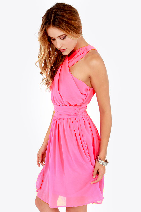 LULUS Exclusive This Twist, This Twist Candy Pink Halter Dress at Lulus.com!