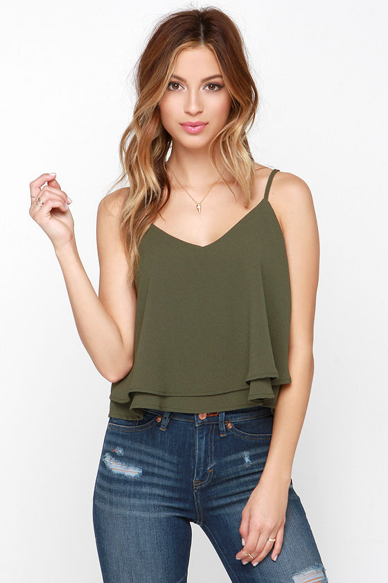 8a0e0ca0f34 Chic Olive Green Top - Crop Top - Sleeveless Top -  37.00