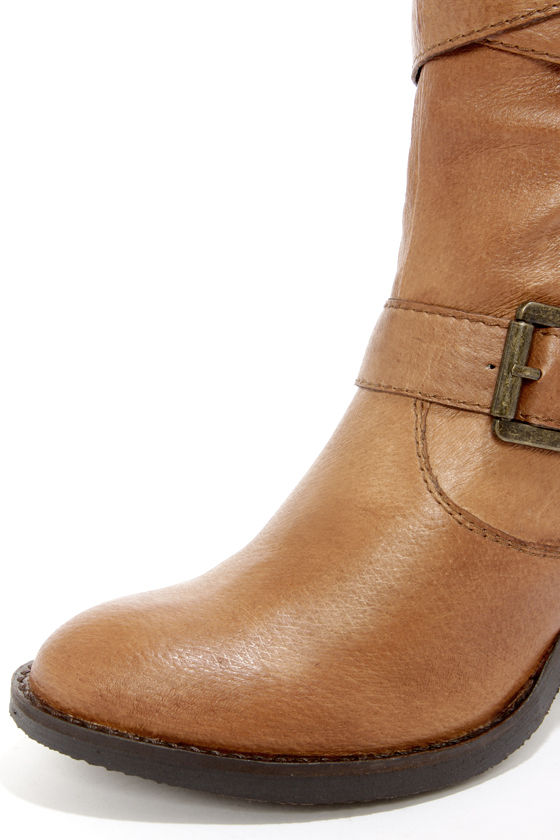Steve Madden Renegaid Cognac Leather Belted Knee High Boots at Lulus.com!