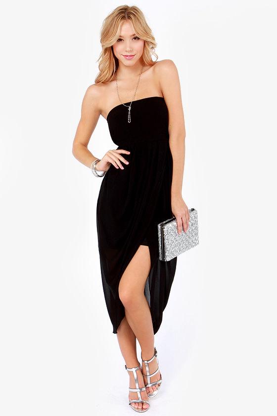 Black Strapless High Low Dress