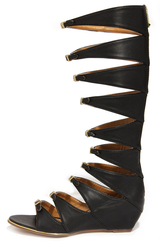 Cute Black Sandals Tall Sandals Gladiator Sandals
