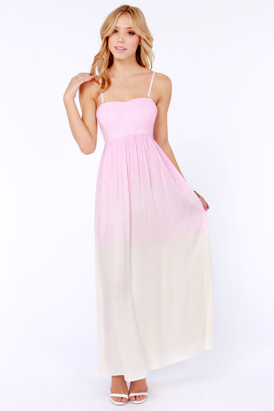 Element Eden Mandala Strapless Pink Dip-Dye Dress at Lulus.com!