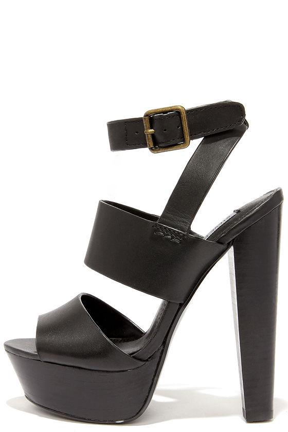 Sexy Black Heels - Platform Heels - Platform Sandals -  109.00