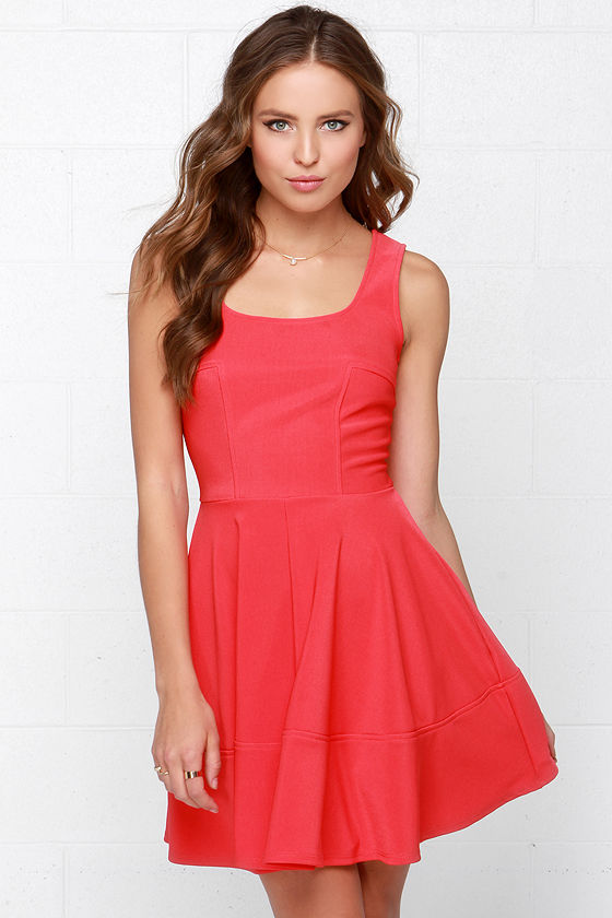 Pretty Coral Red Dress - Skater Dress - $42.00