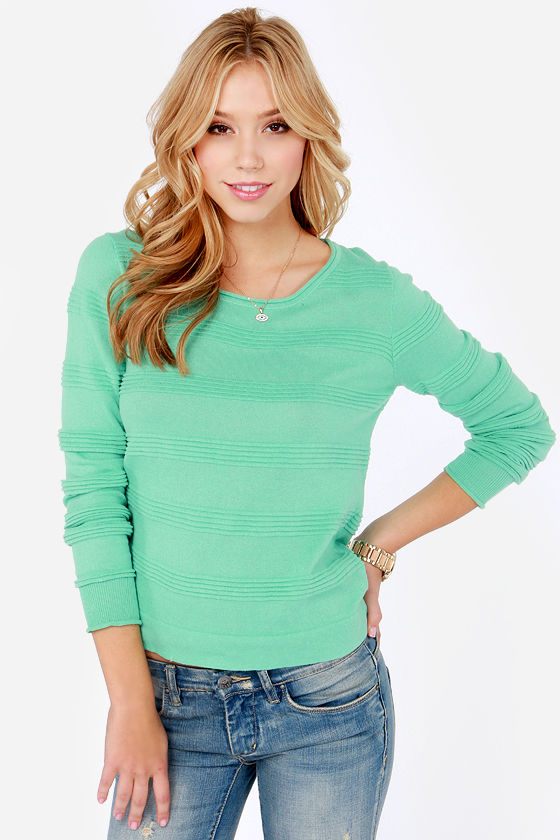 Cute Mint Green Sweater - Ribbed Sweater - Sweater Top - $43.00