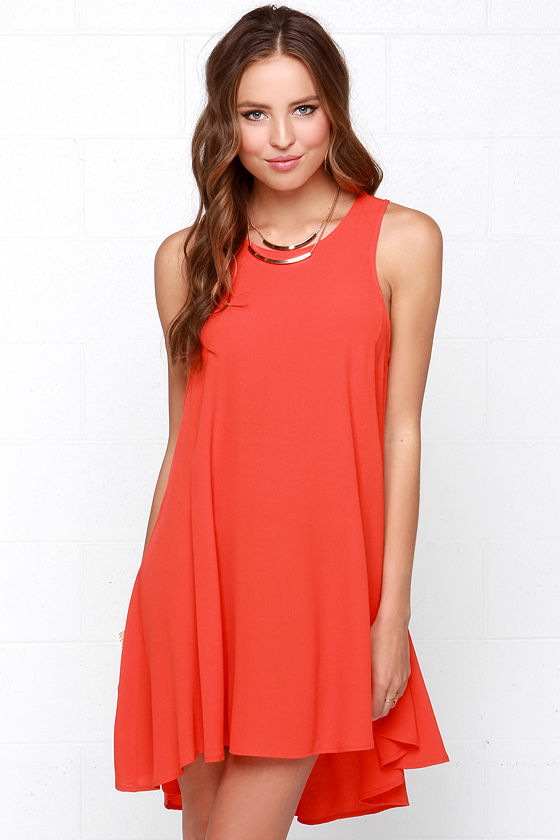 Chic Coral Red Dress - Swing Dress - High Low Dress - $38.00