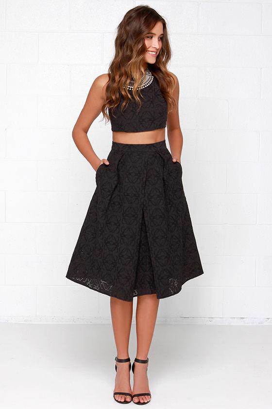 Chic Black Dress - Two-Piece Dress - Midi Dress - $78.00