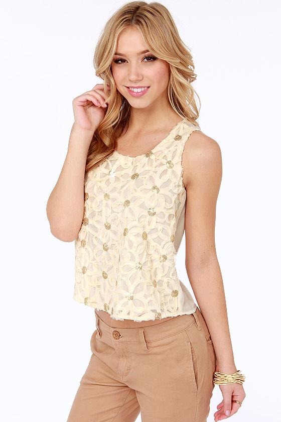 Daisy Dreams Sheer Cream Sequin Top at Lulus.com!