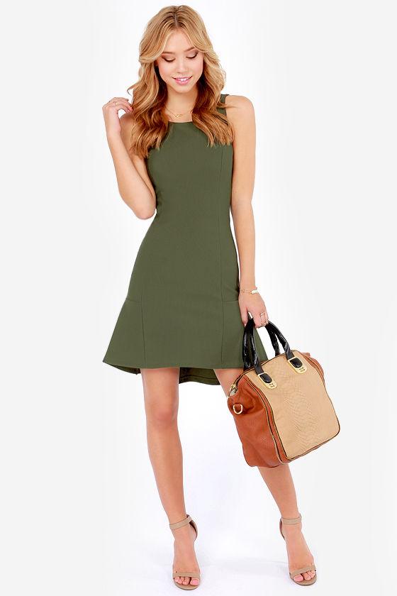 olive green dress high low dress sheath dress