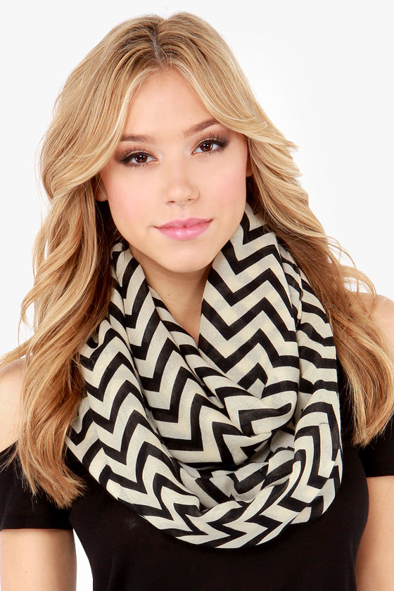 Chevron to You Cream and Black Scarf at Lulus.com!