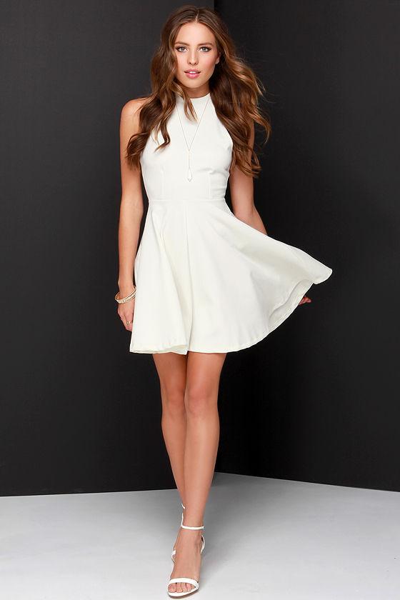 2c362974d6d Others Follow Destiny Dress - Ivory Dress - Skater Dress - Mock Neck Dress  -  45.00
