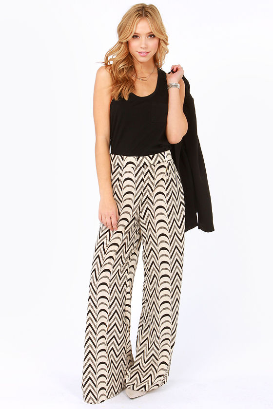 Cute Print Pants - Wide-Leg Pants - Black Pants - Cream Pants - $52.00