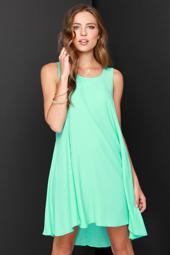 b3c978caef Chic Mint Green Dress - Swing Dress - High Low Dress -  38.00