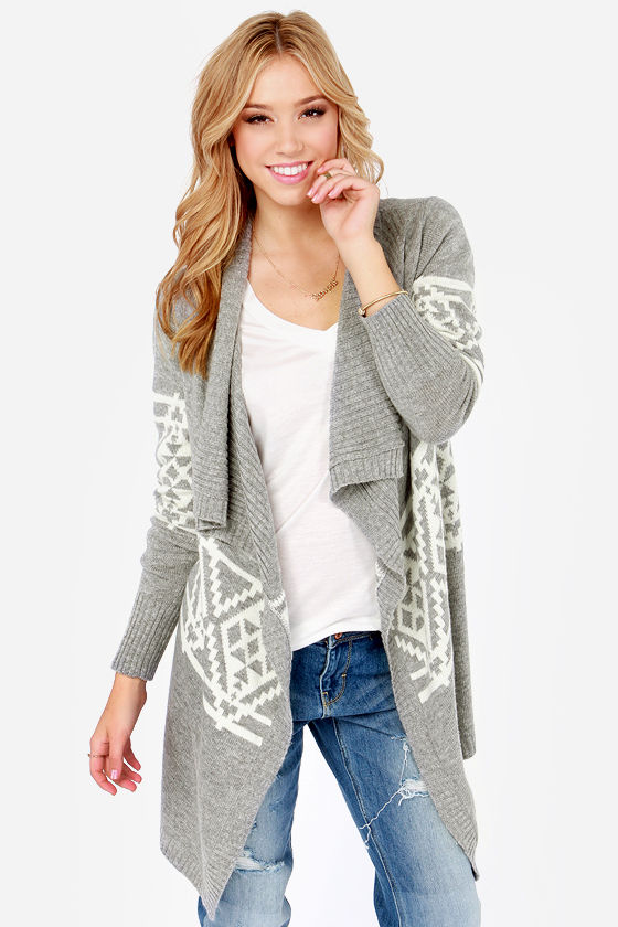 Cute Print Cardigan - Grey Cardigan - Wrap Sweater - $84.00