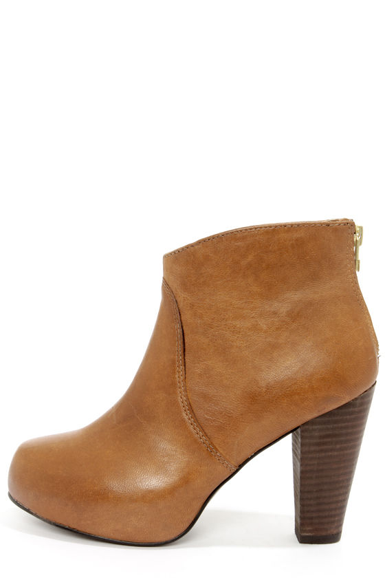 ff8f6c7caa1 Steve Madden Naples Cognac Leather High Heel Ankle Boots