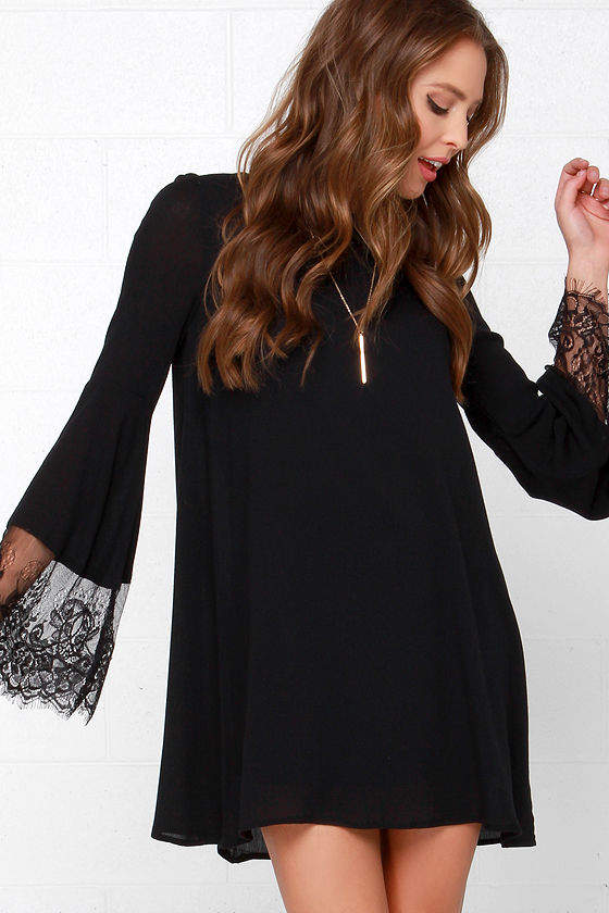 Darling Black Dress - Shift Dress - Lace Dress - Long Sleeve Dress ...