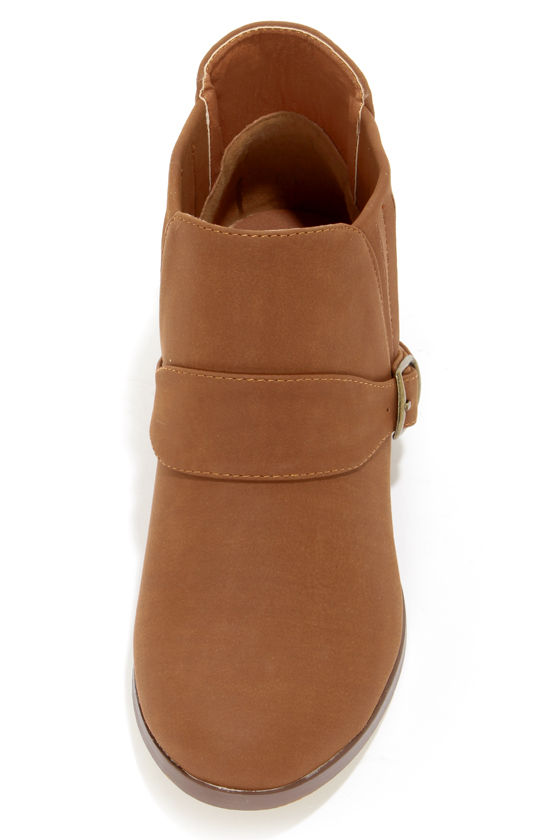 Paco 1 Tan Belted Ankle Boots at Lulus.com!