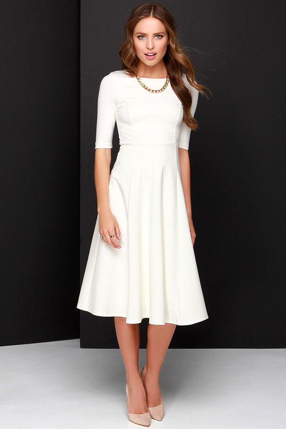 b709859103f Cute Ivory Dress - Midi Dress - Cocktail Dress -  54.00