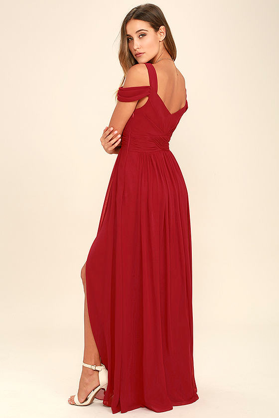 LULUS x Bariano Ocean of Elegance Wine Red Maxi Dress 3