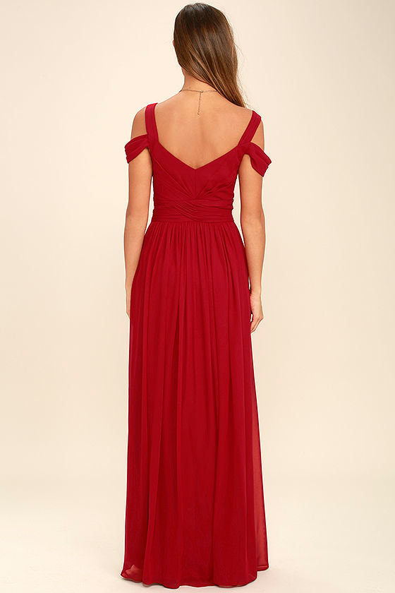 LULUS x Bariano Ocean of Elegance Wine Red Maxi Dress 4