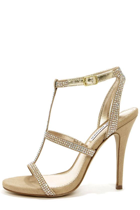 Steve Madden Luulu - T-Strap Heels - Rhinestone Heels - Gold Heels ...
