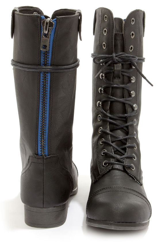 black boots with blue zipper