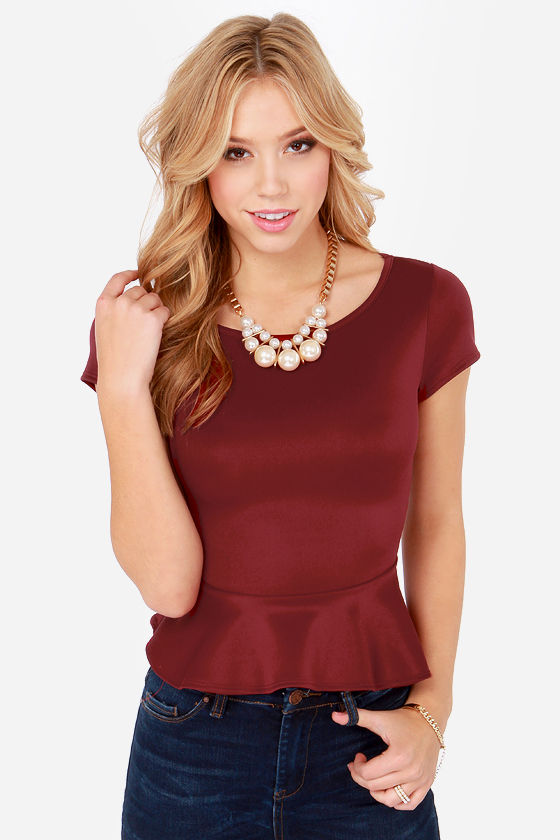 LULUS Exclusive Loud and Clear Wine Red Peplum Top at Lulus.com!