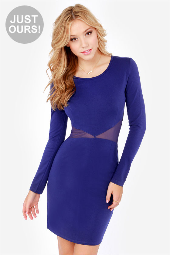 Sexy Royal Blue Dress - Long Sleeve Dress - Cutout Dress - $57.00