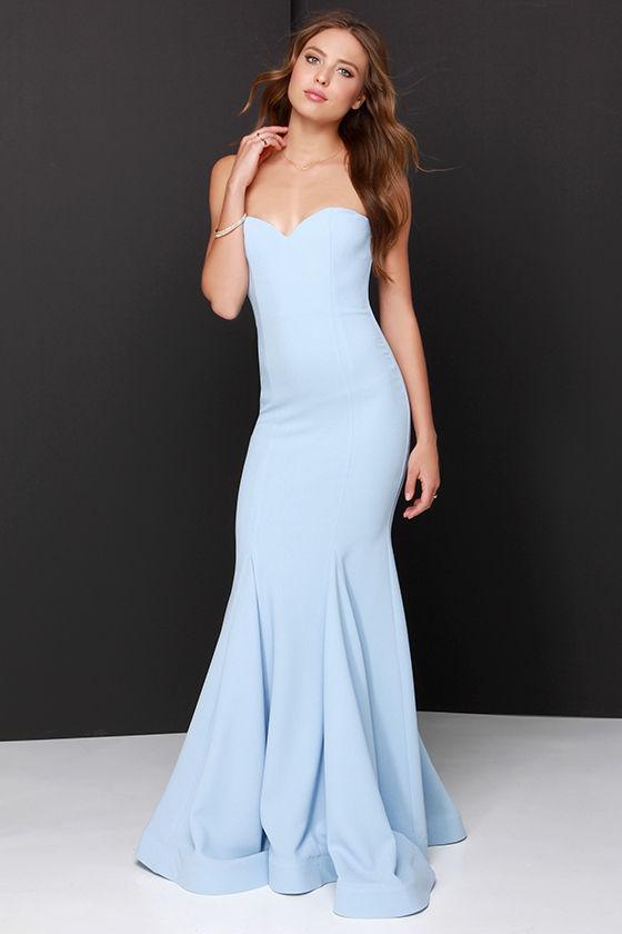 Light blue maxi dress strapless
