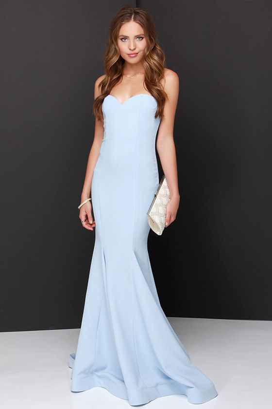 Chic Light Blue Dress - Strapless Dress - Maxi Dress - $205.00
