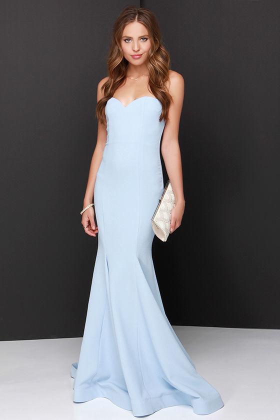 feed60ef12 Chic Light Blue Dress - Strapless Dress - Maxi Dress -  205.00