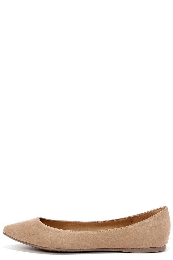 Cute Pointed Flats - Nude Flats - Beige