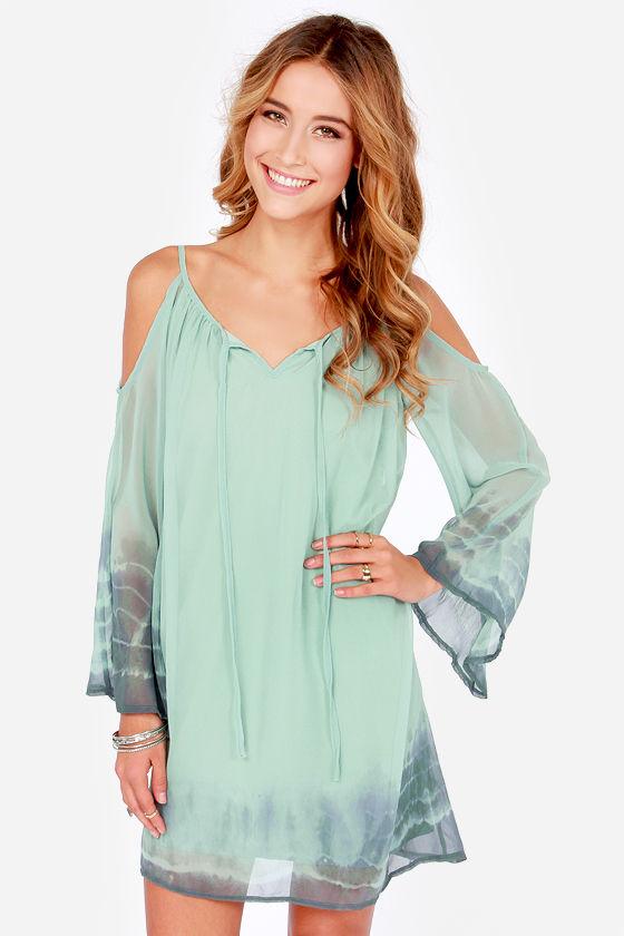9c44ee2d3121 Cute Green Dress - Shift Dress - Tie-Dye Dress - Off-the-Shoulder Dress -   45.00
