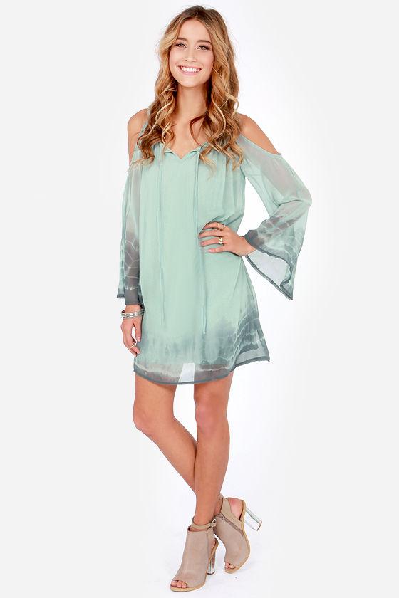 92ec4070e20 Cute Green Dress - Shift Dress - Tie-Dye Dress - Off-the-Shoulder ...