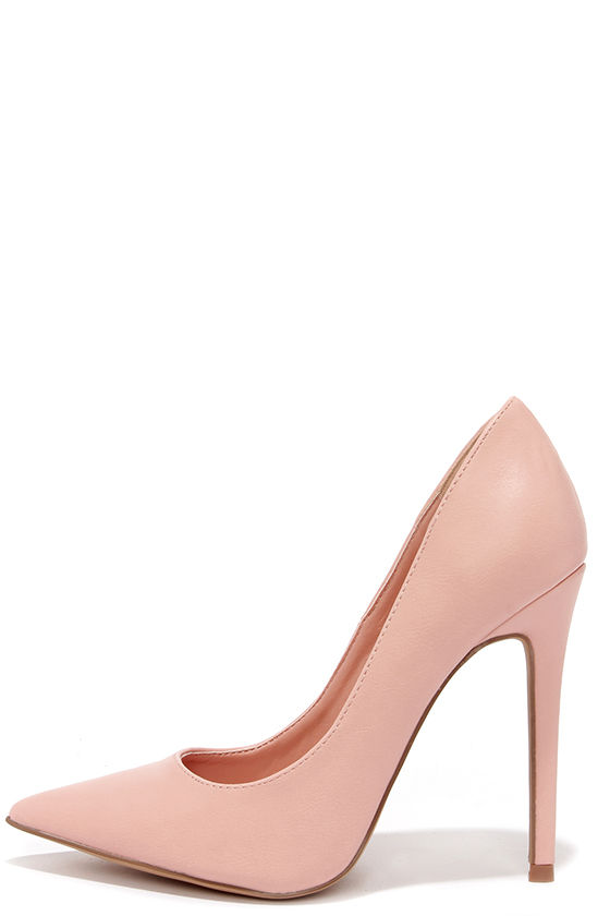 660c61a86b91 Pretty Pink Pumps - Pointed Pumps - Blush Pink Heels -  34.00
