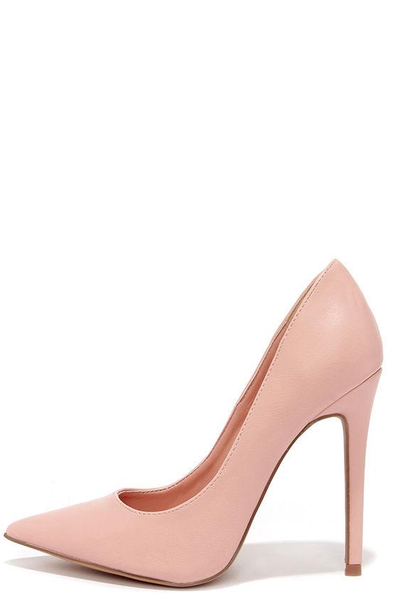 Pretty Pink Pumps - Pointed Pumps - Blush Pink Heels - $34.00