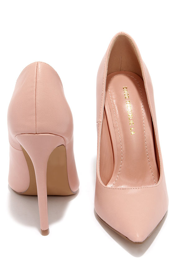 Pretty Pink Pumps - Pointed Pumps - Blush Pink Heels - $34.00