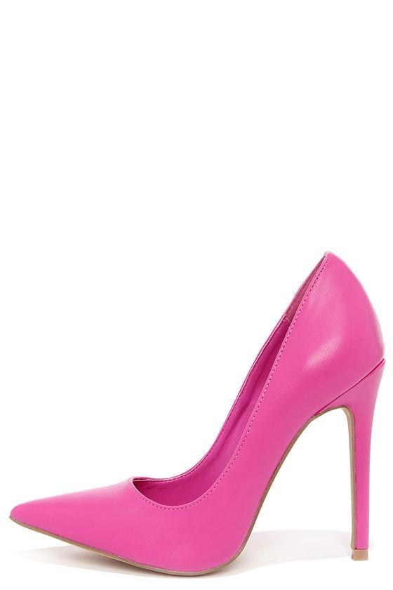 Pretty Fuchsia Pumps - Pointed Pumps - Hot Pink Heels - $34.00