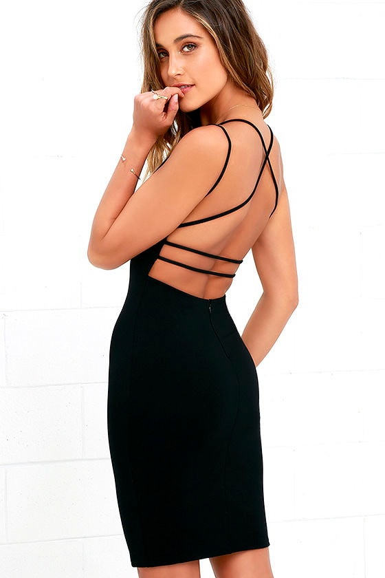 Sexy Backless Dress - Black Dress - Midi Dress - Bodycon Dress ...