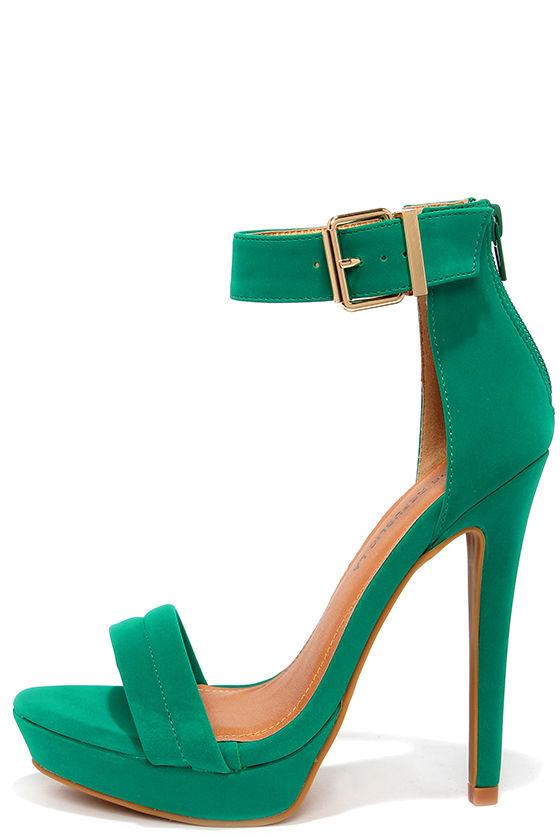 Pretty Jade Green Heels Ankle Strap Heels Dress