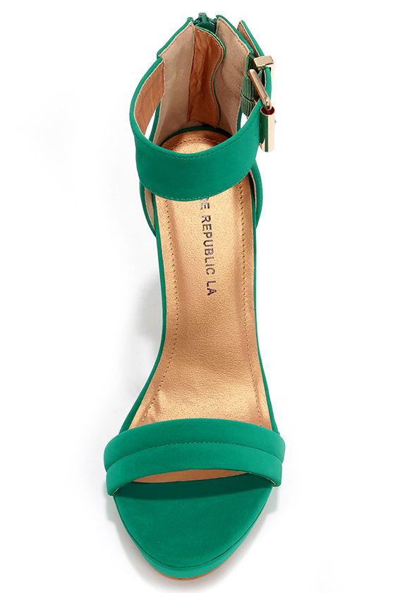 Pretty Jade Green Heels - Ankle Strap Heels - Dress Sandals - $36.00