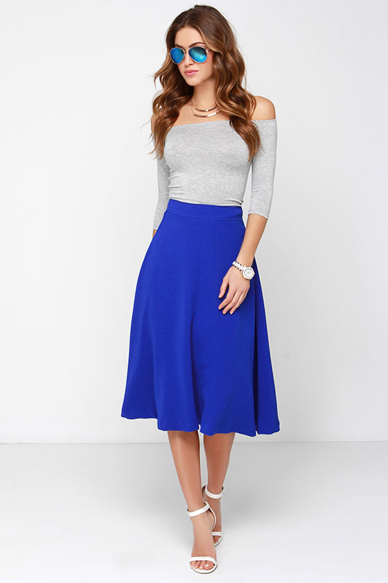 Lovely Cobalt Blue Skirt Midi Skirt High Waisted Skirt