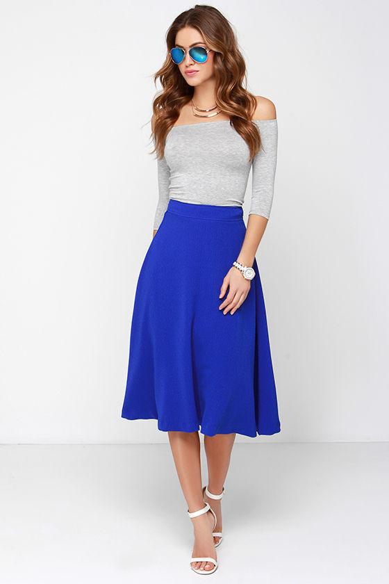 lovely cobalt blue skirt midi skirt high waisted skirt