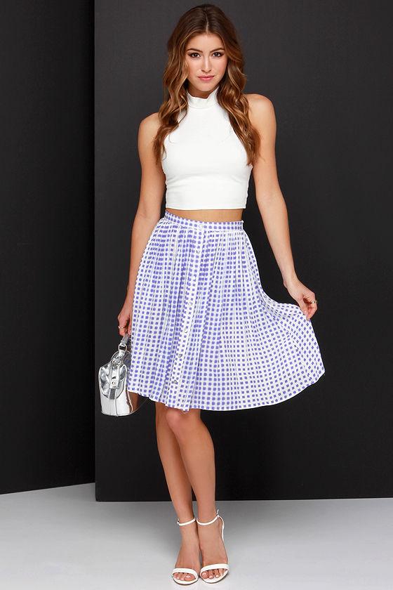 5dc92995533d Pretty Purple Skirt - Gingham Skirt - Midi Skirt - $71.00