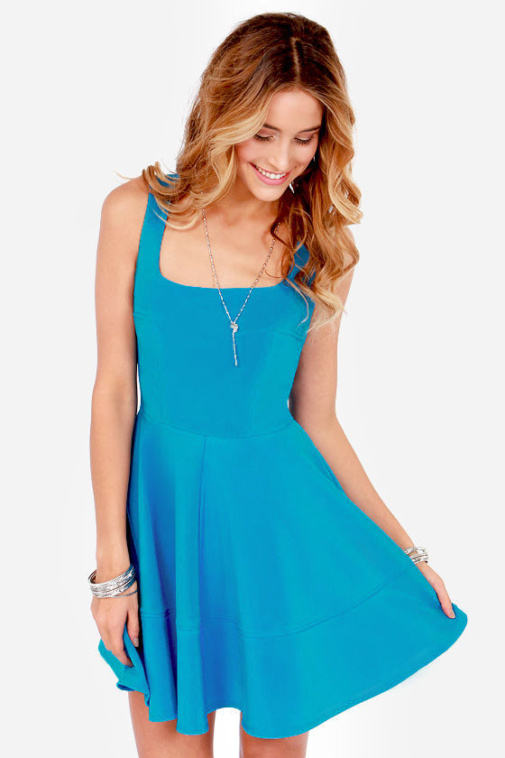 Pretty Bright Blue Dress - Skater Dress - $42.00