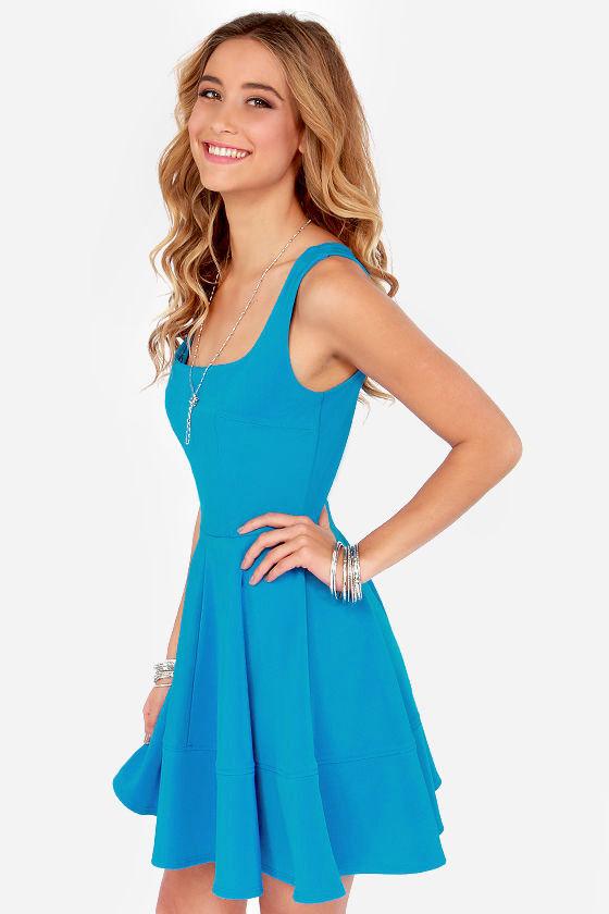 Pretty Bright Blue Dress - Skater Dress - $42.00