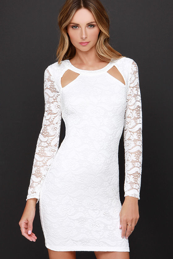 Chic white dress long sleeve dress lace dress for White after wedding party dress