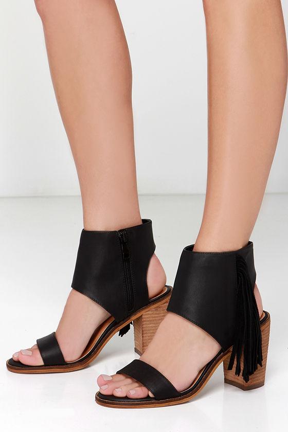 0b52de869abf1a Cute Black Sandals - Fringe Sandals - Ankle Cuff Sandals -  69.00