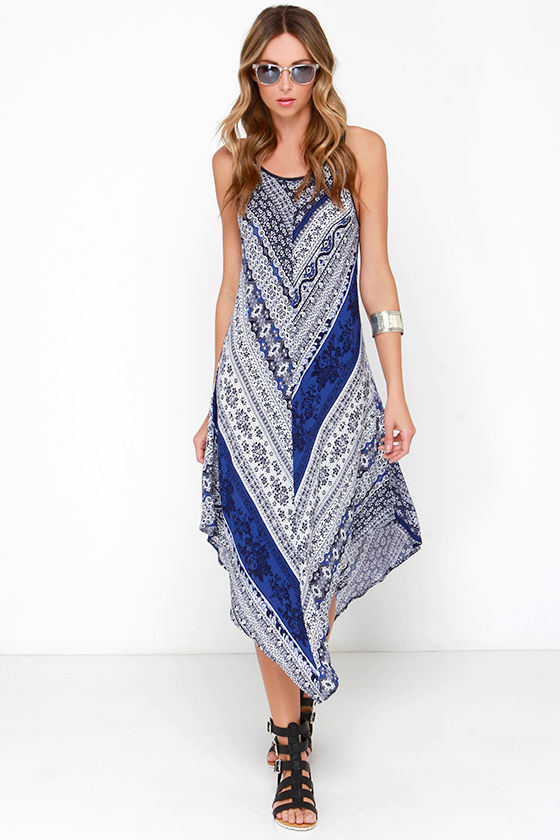 Boho Dress Midi Dress Blue Print Dress 59 00