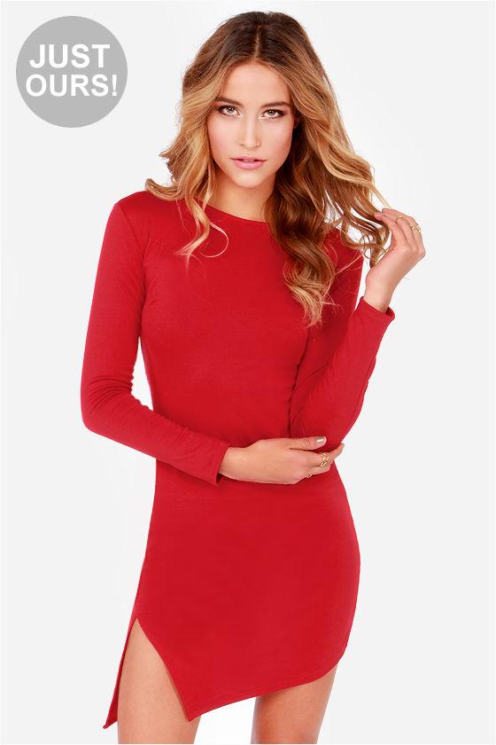 Cute Red Dress - Bodycon Dress - Long Sleeve Dress - $38.00